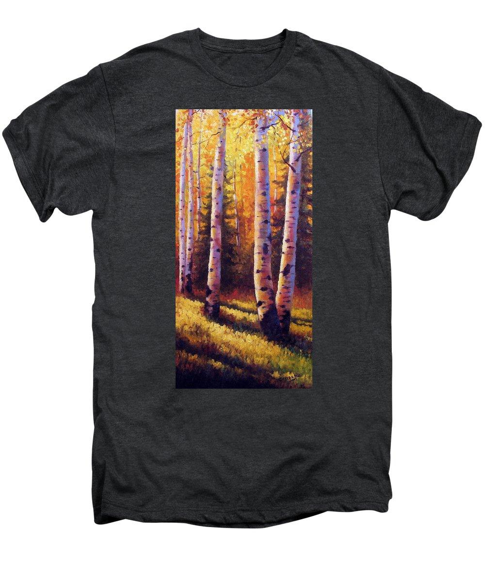 Light Men's Premium T-Shirt featuring the painting Golden Light by David G Paul