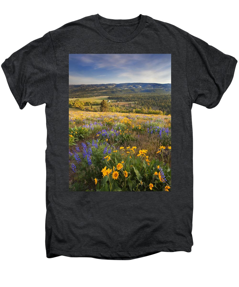 Wildflowers Men's Premium T-Shirt featuring the photograph Golden Valley by Mike Dawson