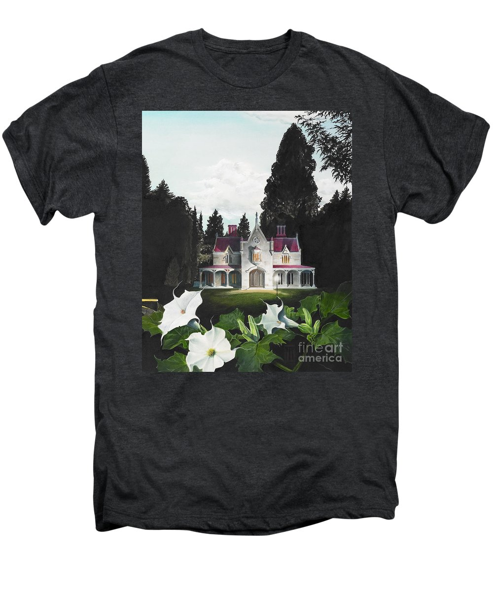 Fantasy Men's Premium T-Shirt featuring the painting Gothic Country House Detail From Night Bridge by Melissa A Benson