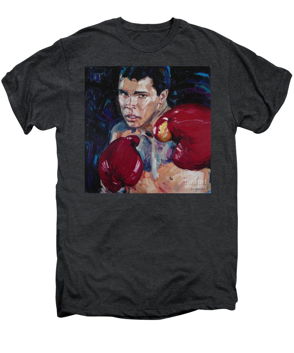 Figurative Men's Premium T-Shirt featuring the painting Great Ali by Sergey Ignatenko
