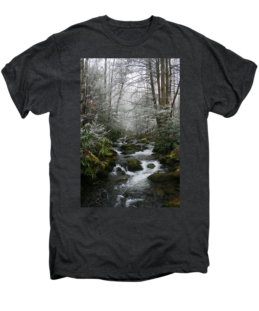 Green Snow Tree Trees Winter Stream River Creek Water Stone Rock Flow Boulder Forest Woods Cold Men's Premium T-Shirt featuring the photograph Green And White by Andrei Shliakhau