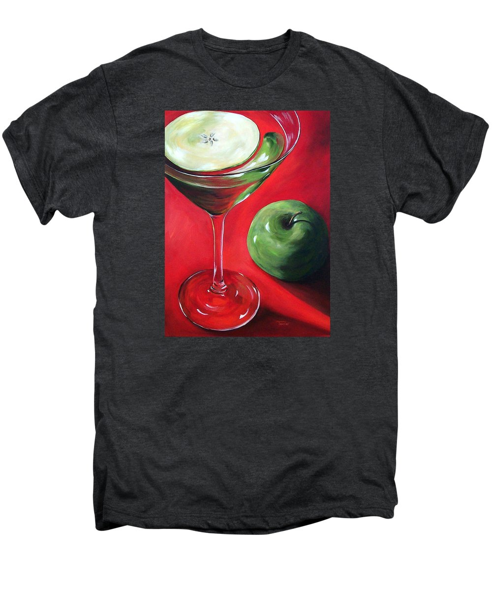 Martini Men's Premium T-Shirt featuring the painting Green Apple Martini by Torrie Smiley