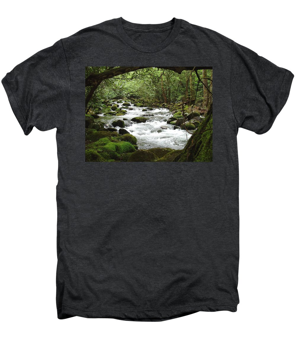 Smoky Mountains Men's Premium T-Shirt featuring the photograph Greenbrier River Scene 2 by Nancy Mueller