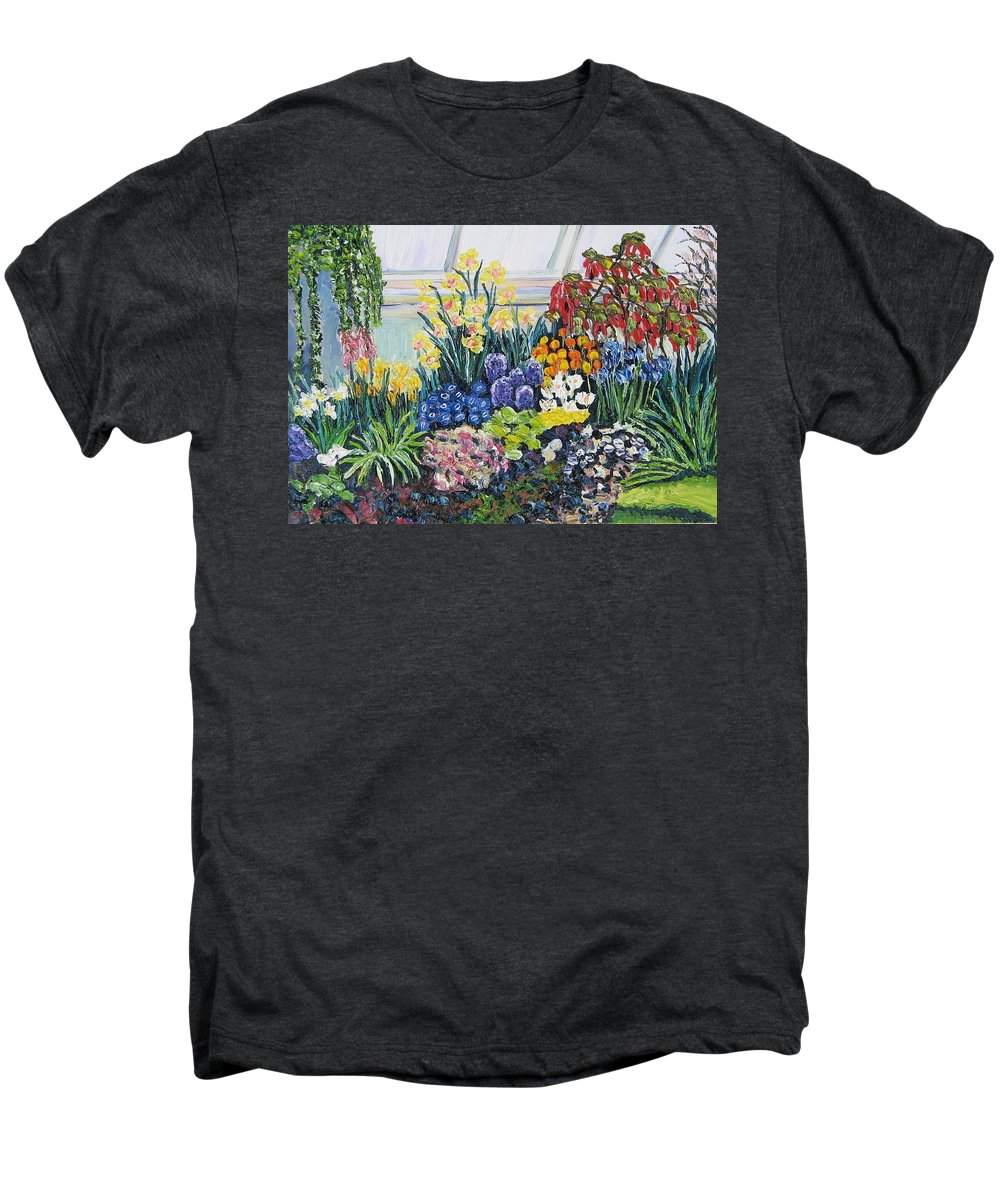 Flowers Men's Premium T-Shirt featuring the painting Greenhouse Flowers With Blue And Red by Richard Nowak