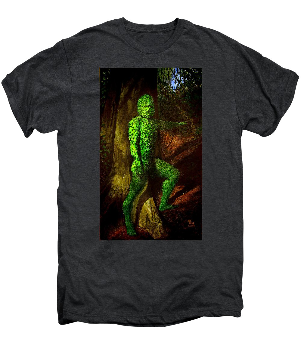 Myth Men's Premium T-Shirt featuring the mixed media Greenman by Will Brown