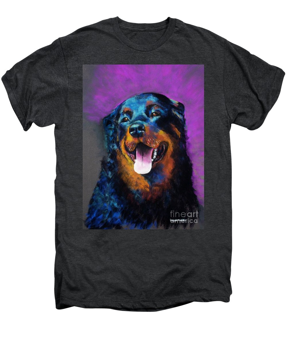 Rottweiler Men's Premium T-Shirt featuring the painting Gretchen by Frances Marino