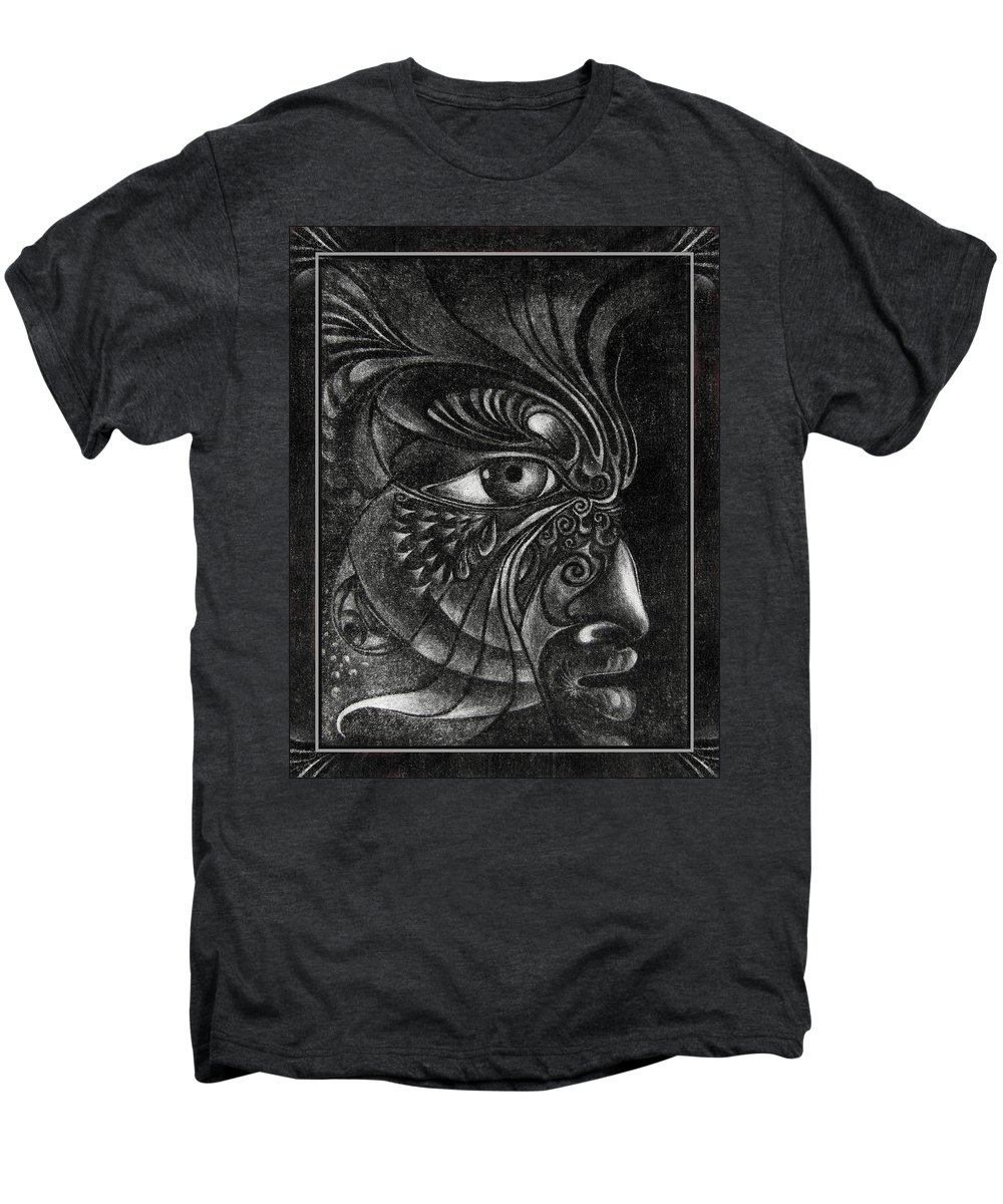 Mezzotint Men's Premium T-Shirt featuring the drawing Guardian Cherub by Otto Rapp
