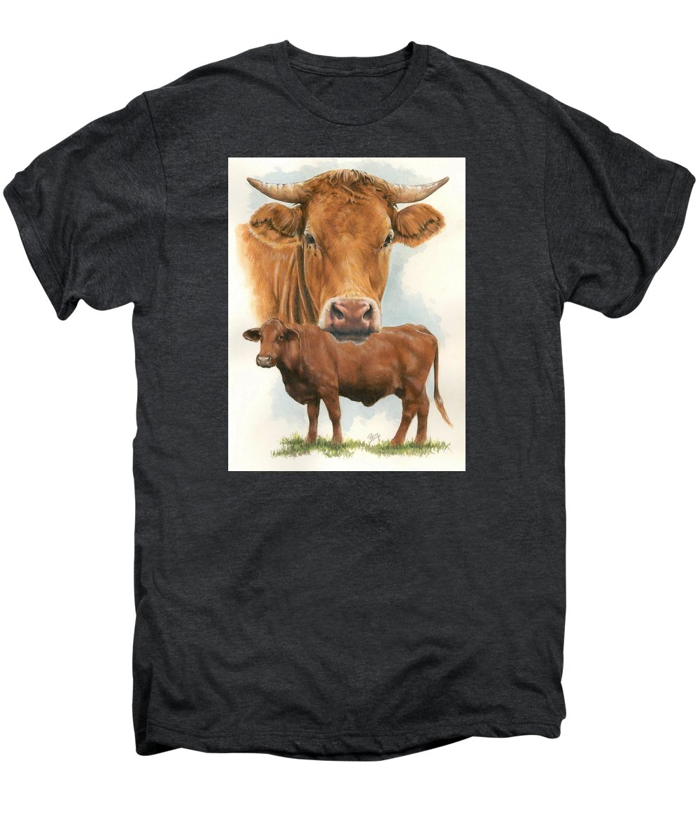 Cow Men's Premium T-Shirt featuring the mixed media Guernsey by Barbara Keith