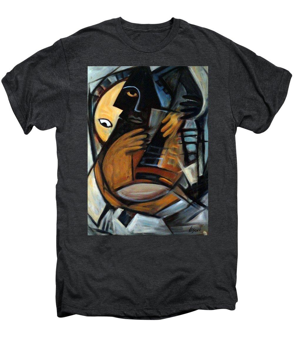 Cubism Men's Premium T-Shirt featuring the painting Guitarist by Valerie Vescovi