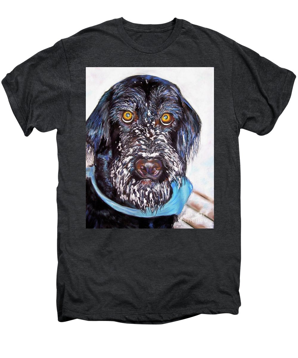 Dog Men's Premium T-Shirt featuring the painting Gus by Frances Marino