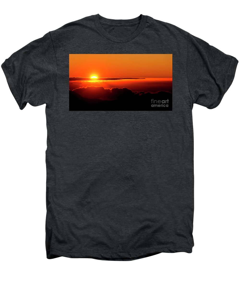 Sunrise Men's Premium T-Shirt featuring the photograph Maui Hawaii Haleakala National Park Sunrise IIi by Jim Cazel