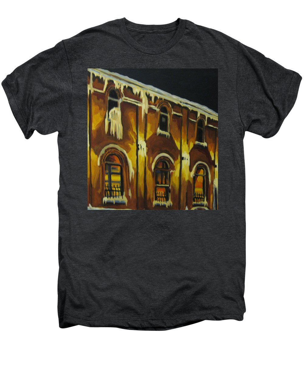 Urban Landscapes Men's Premium T-Shirt featuring the painting Halifax Ale House In Ice by John Malone