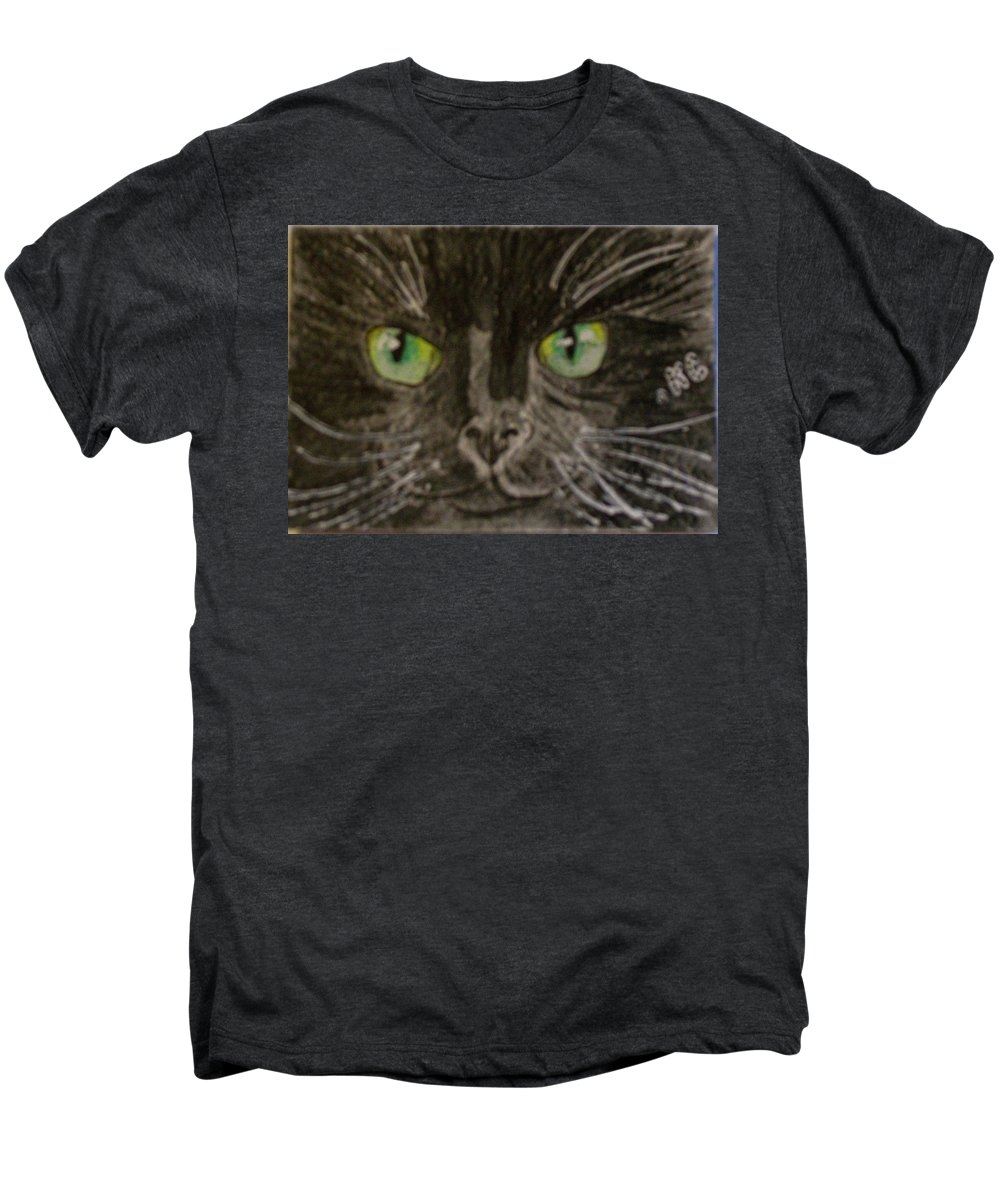 Halloween Men's Premium T-Shirt featuring the painting Halloween Black Cat I by Kathy Marrs Chandler