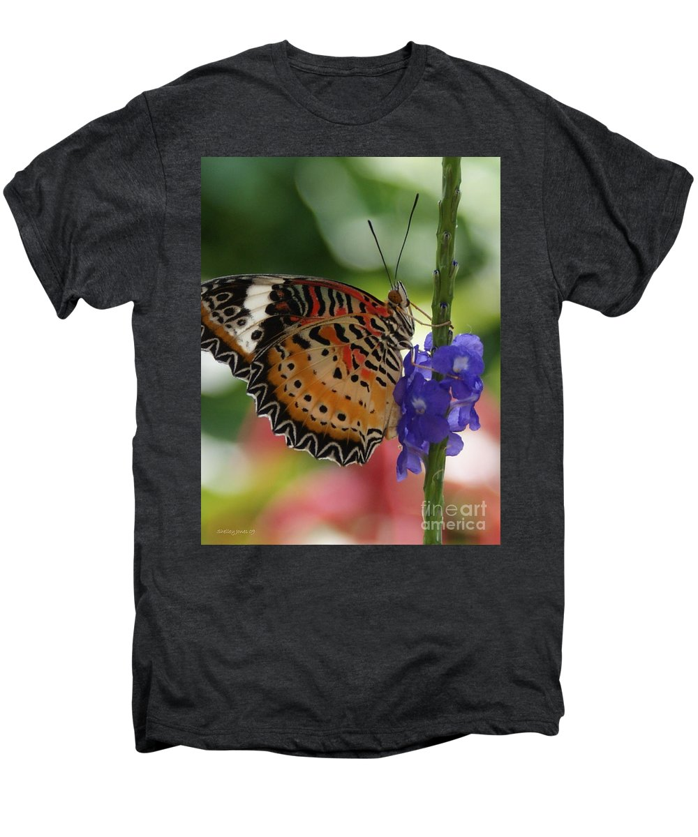 Butterfly Men's Premium T-Shirt featuring the photograph Hanging On by Shelley Jones