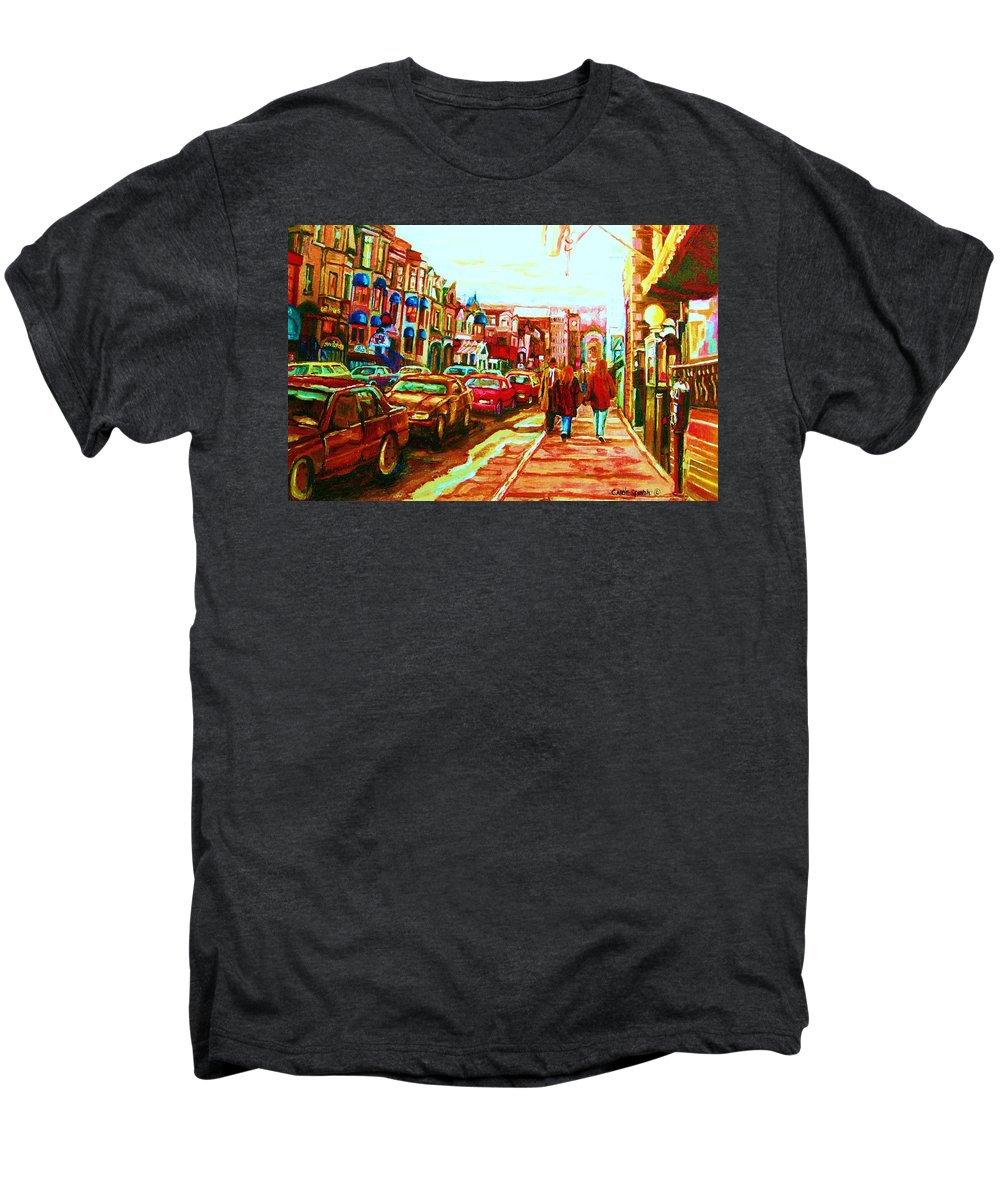 Montreal Streetscenes Men's Premium T-Shirt featuring the painting Hard Rock On Crescent by Carole Spandau