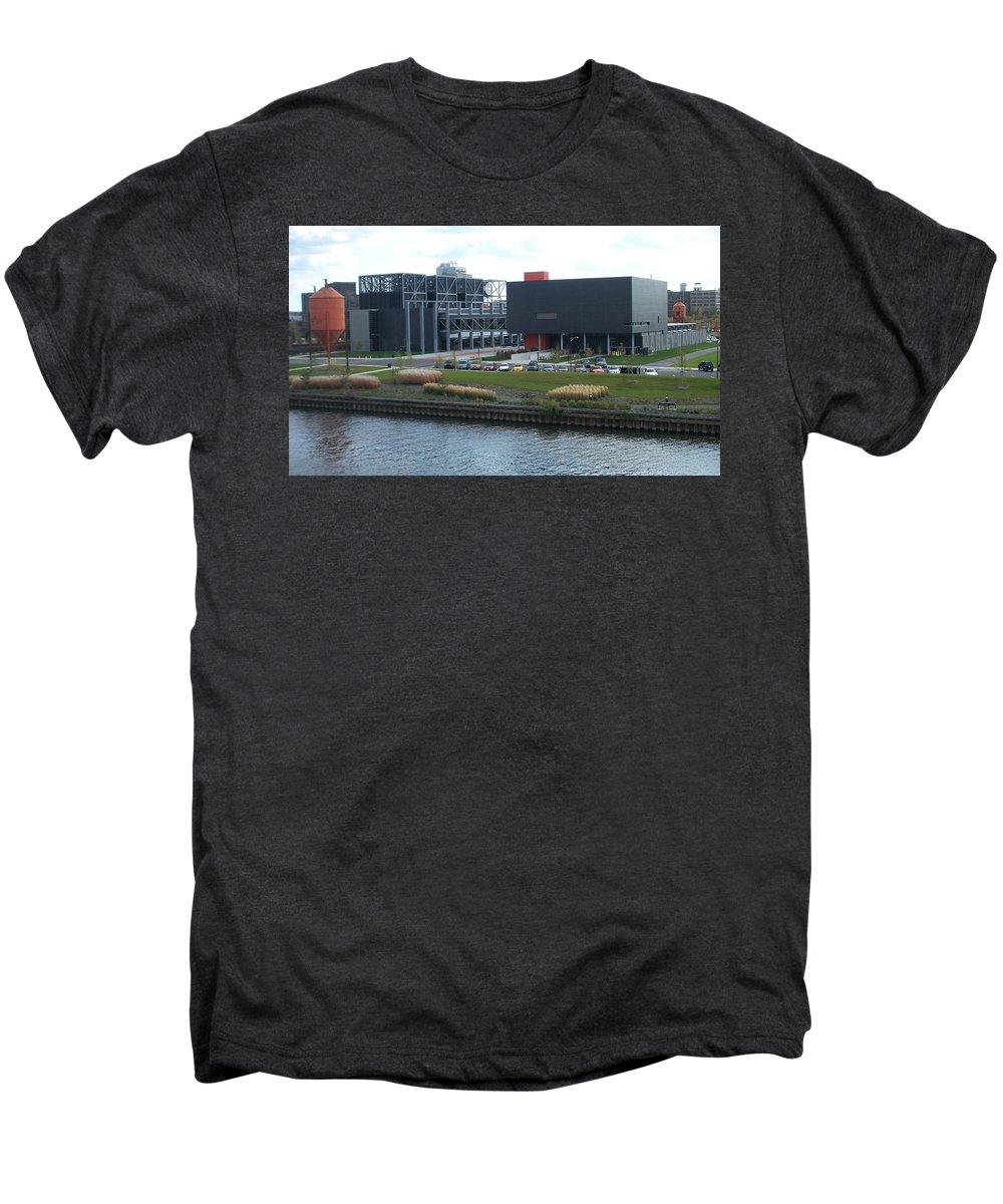 Architechture Men's Premium T-Shirt featuring the photograph Harley Museum Milwaukee by Anita Burgermeister