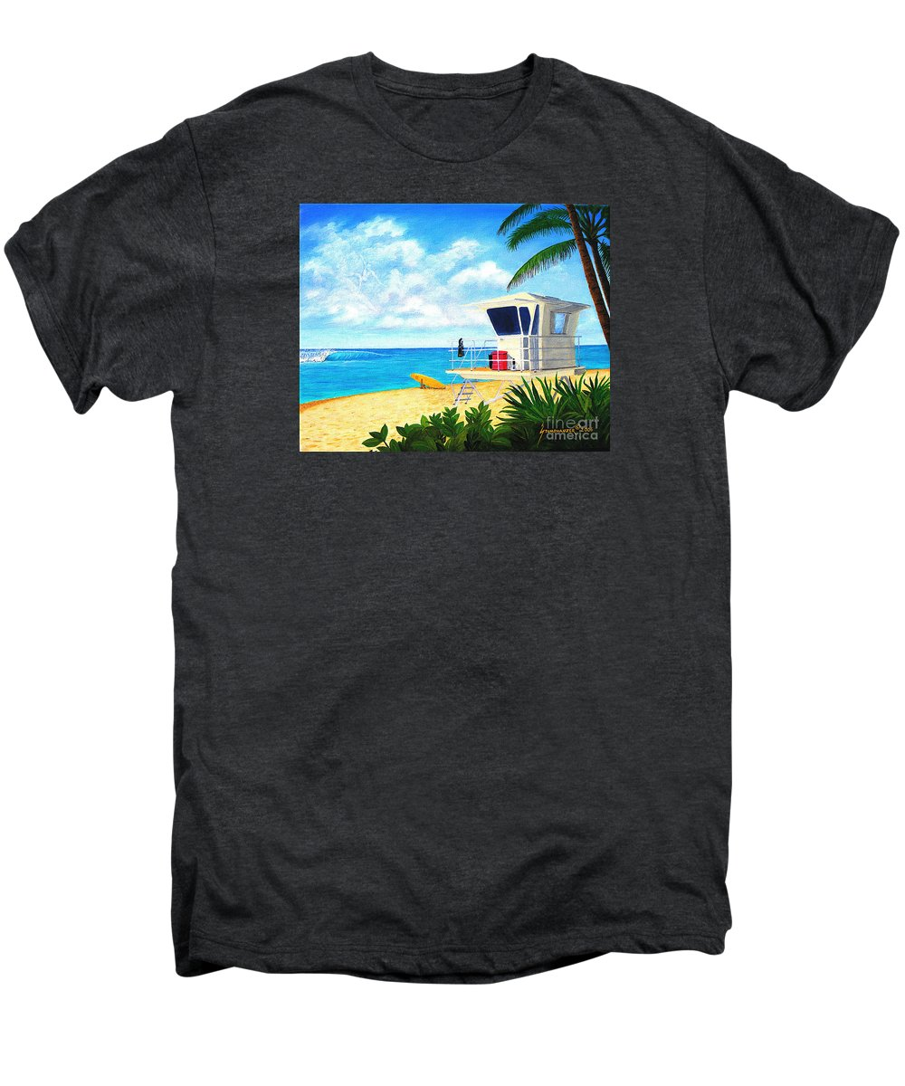 Hawaii Men's Premium T-Shirt featuring the painting Hawaii North Shore Banzai Pipeline by Jerome Stumphauzer