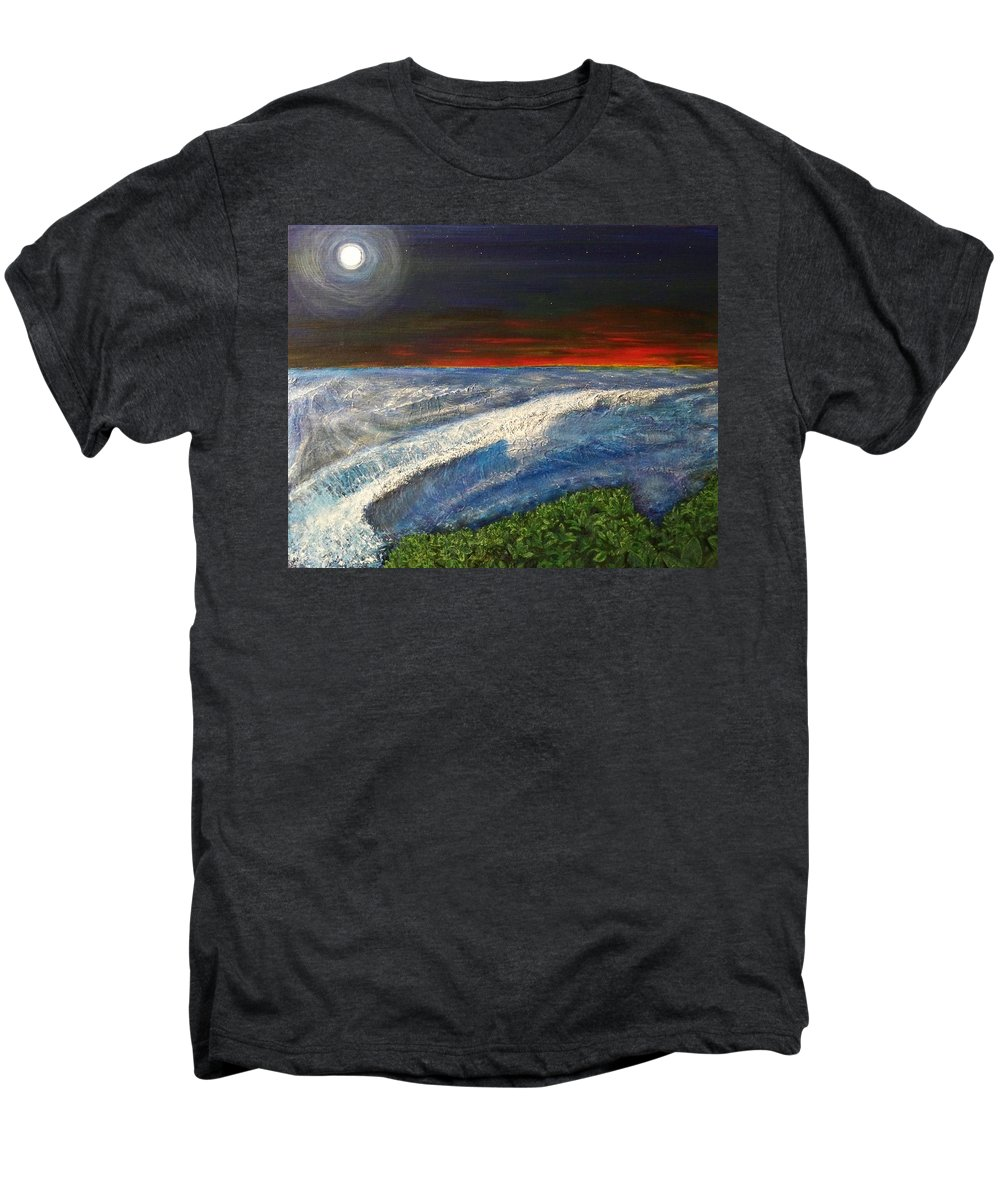 Beaches Men's Premium T-Shirt featuring the painting Hawiian View by Michael Cuozzo