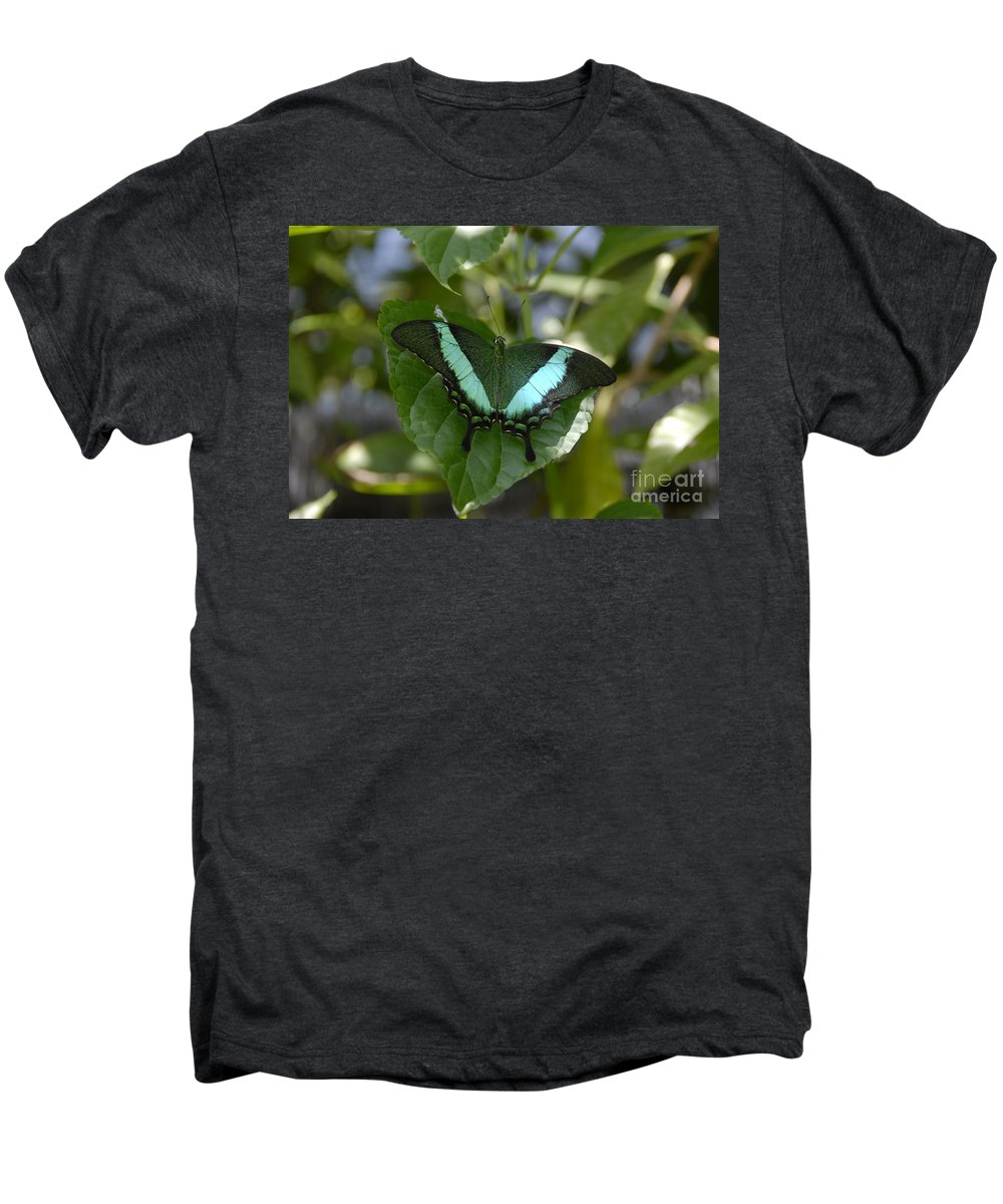 Butterfly Men's Premium T-Shirt featuring the photograph Heart Leaf Butterfly by David Lee Thompson