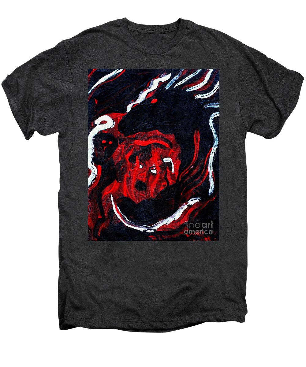 Horse Woman Red Black Silver Men's Premium T-Shirt featuring the painting Hell Beast by Dawn Downour