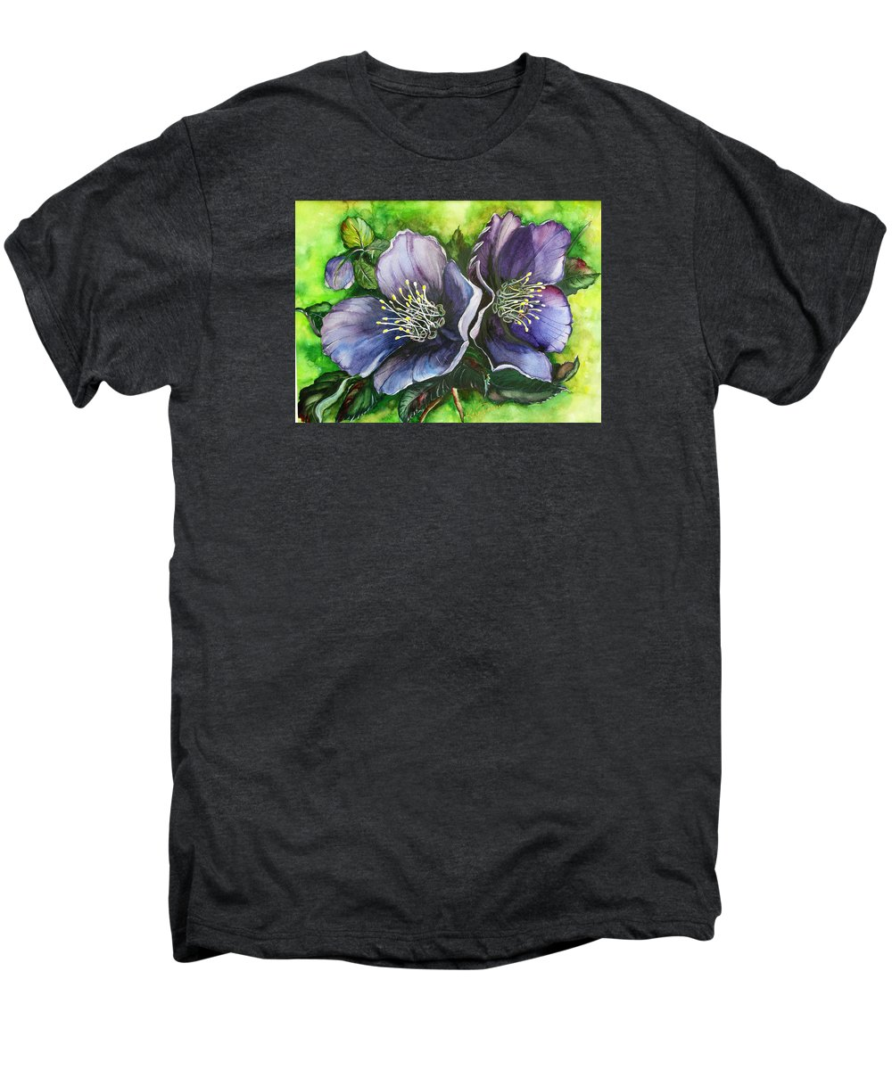 Flower Painting Botanical Painting Original W/c Painting Helleborous Painting Men's Premium T-Shirt featuring the painting Helleborous Blue Lady by Karin Dawn Kelshall- Best