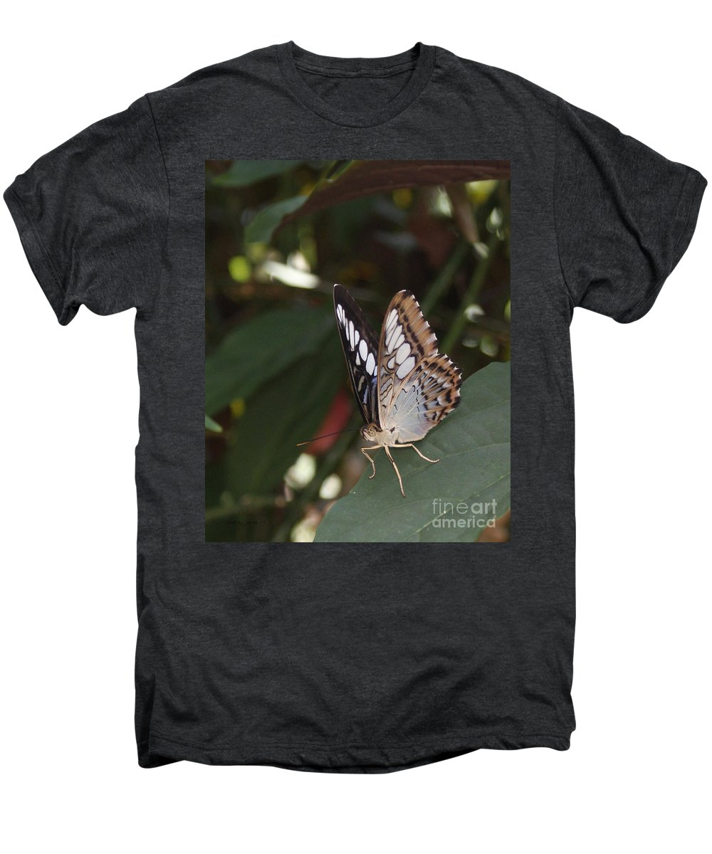 Butterfly Men's Premium T-Shirt featuring the photograph Hints Of Blue by Shelley Jones