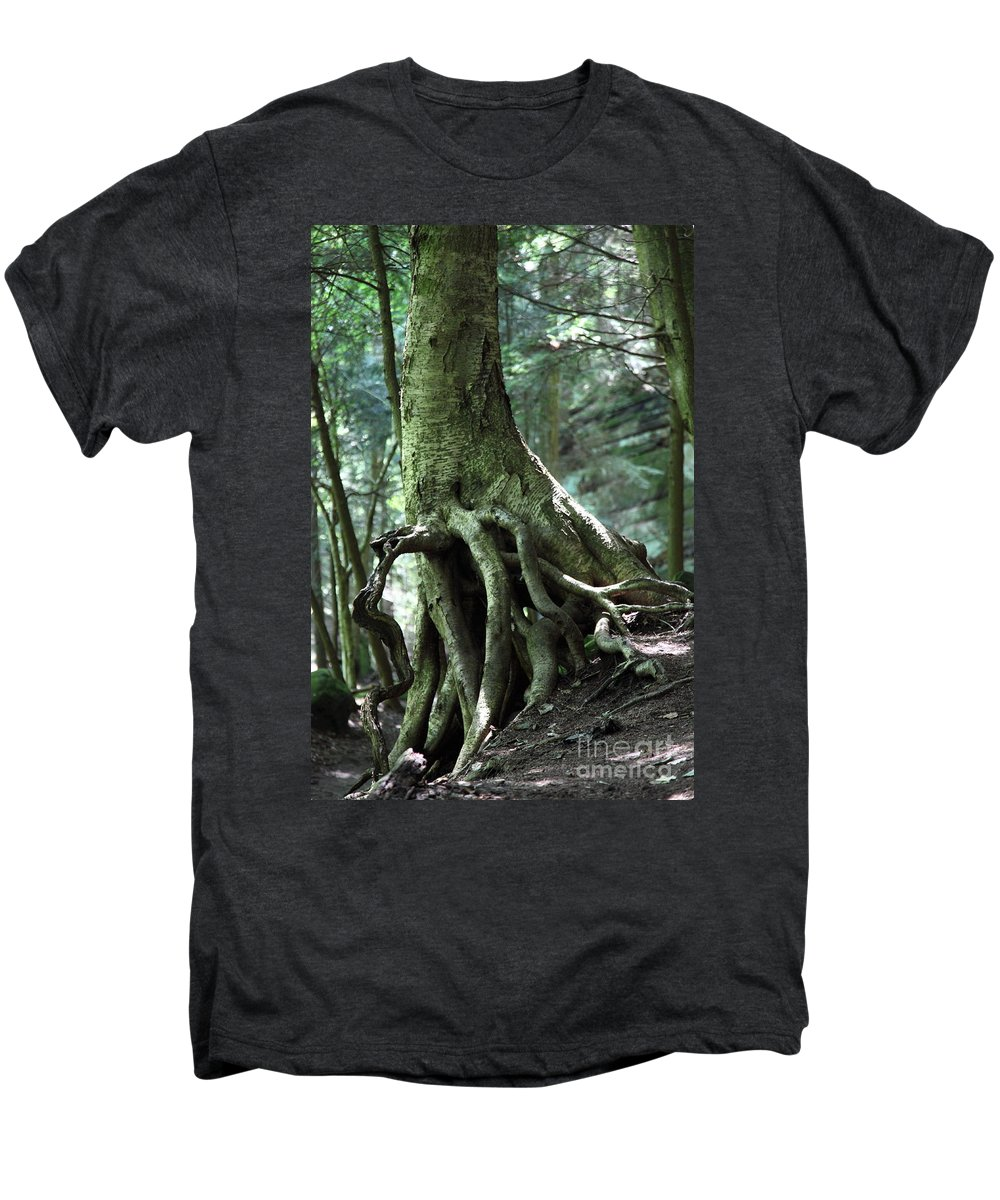 Trees Men's Premium T-Shirt featuring the photograph Hold On To Me. by Amanda Barcon