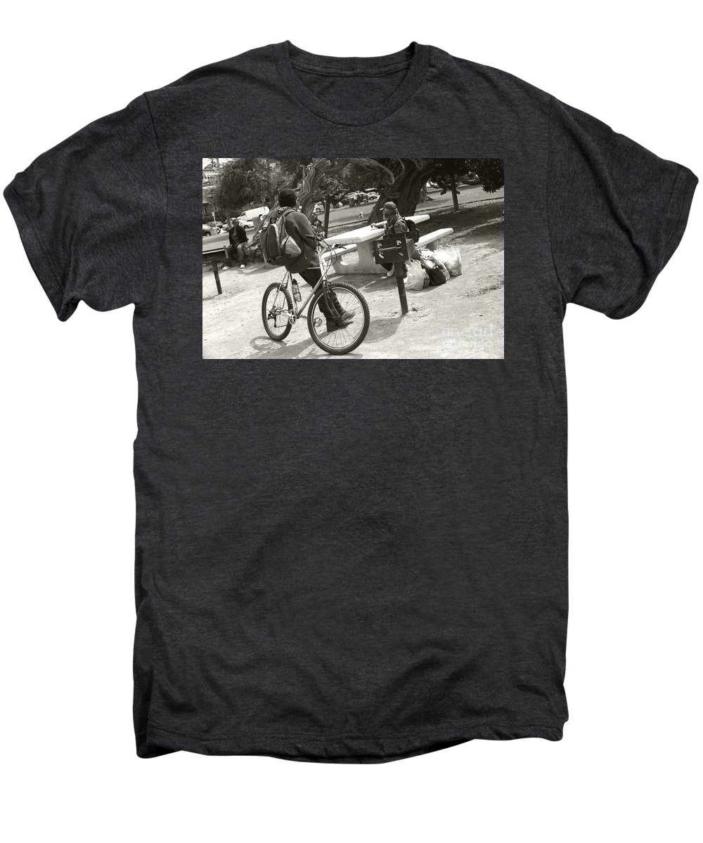 Homeless Men's Premium T-Shirt featuring the photograph Holding Court by Heather Kirk