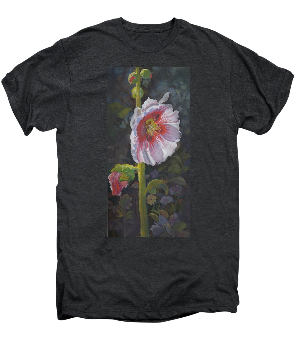 Flower Men's Premium T-Shirt featuring the painting Hollyhock by Heather Coen