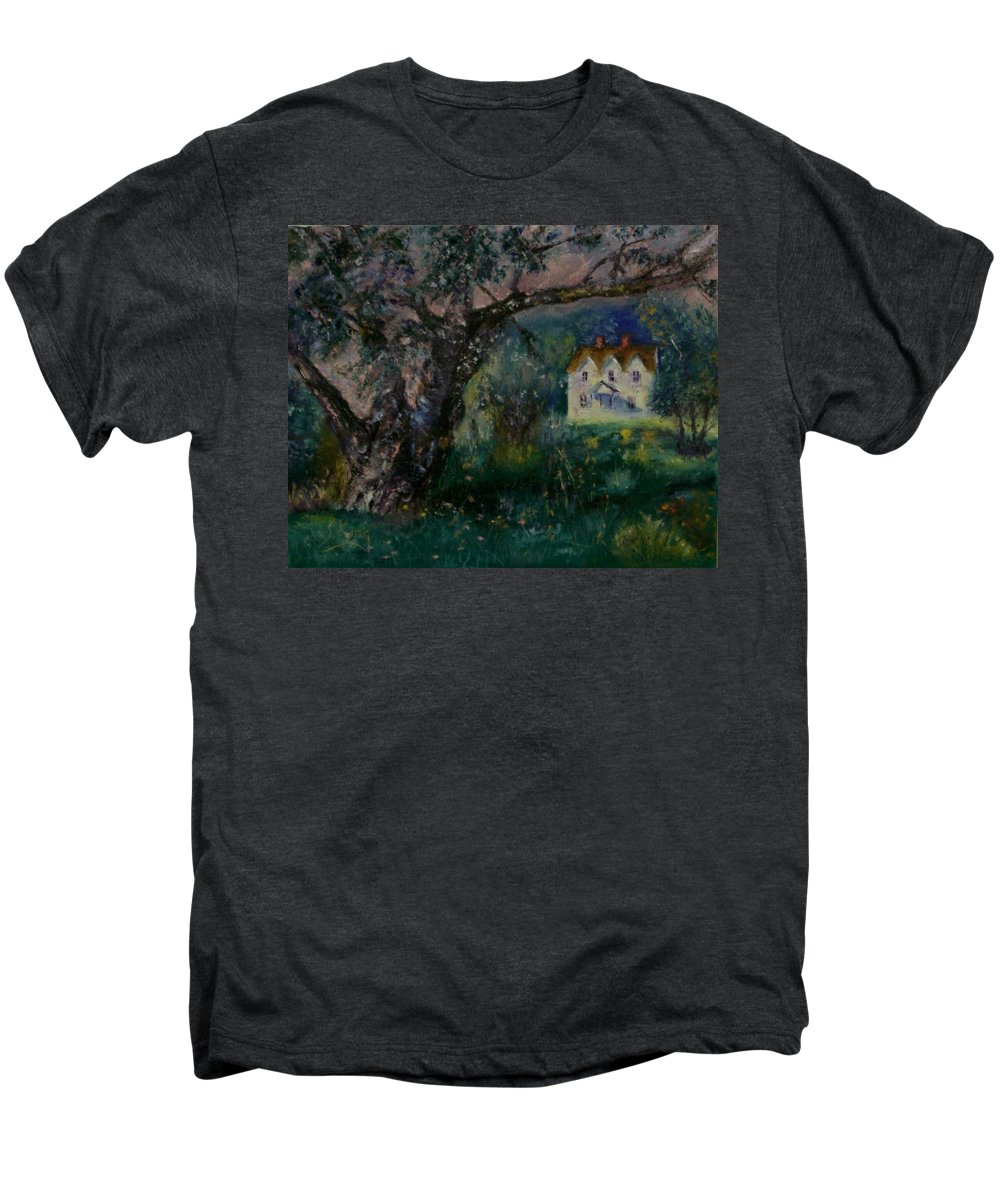 Landscape Men's Premium T-Shirt featuring the painting Homestead by Stephen King