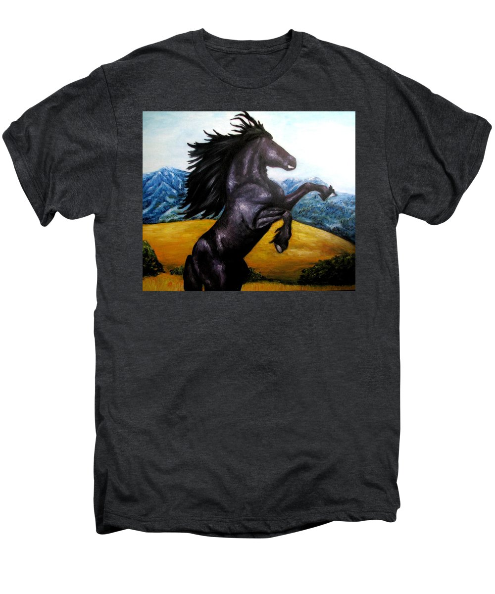 Horse Men's Premium T-Shirt featuring the painting Horse Oil Painting by Natalja Picugina