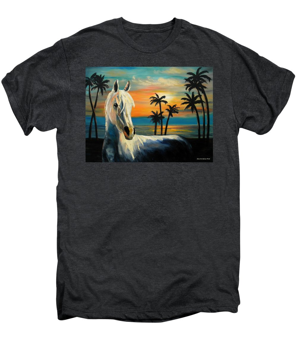 Horse Men's Premium T-Shirt featuring the painting Horses In Paradise Tell Me Your Dream by Gina De Gorna