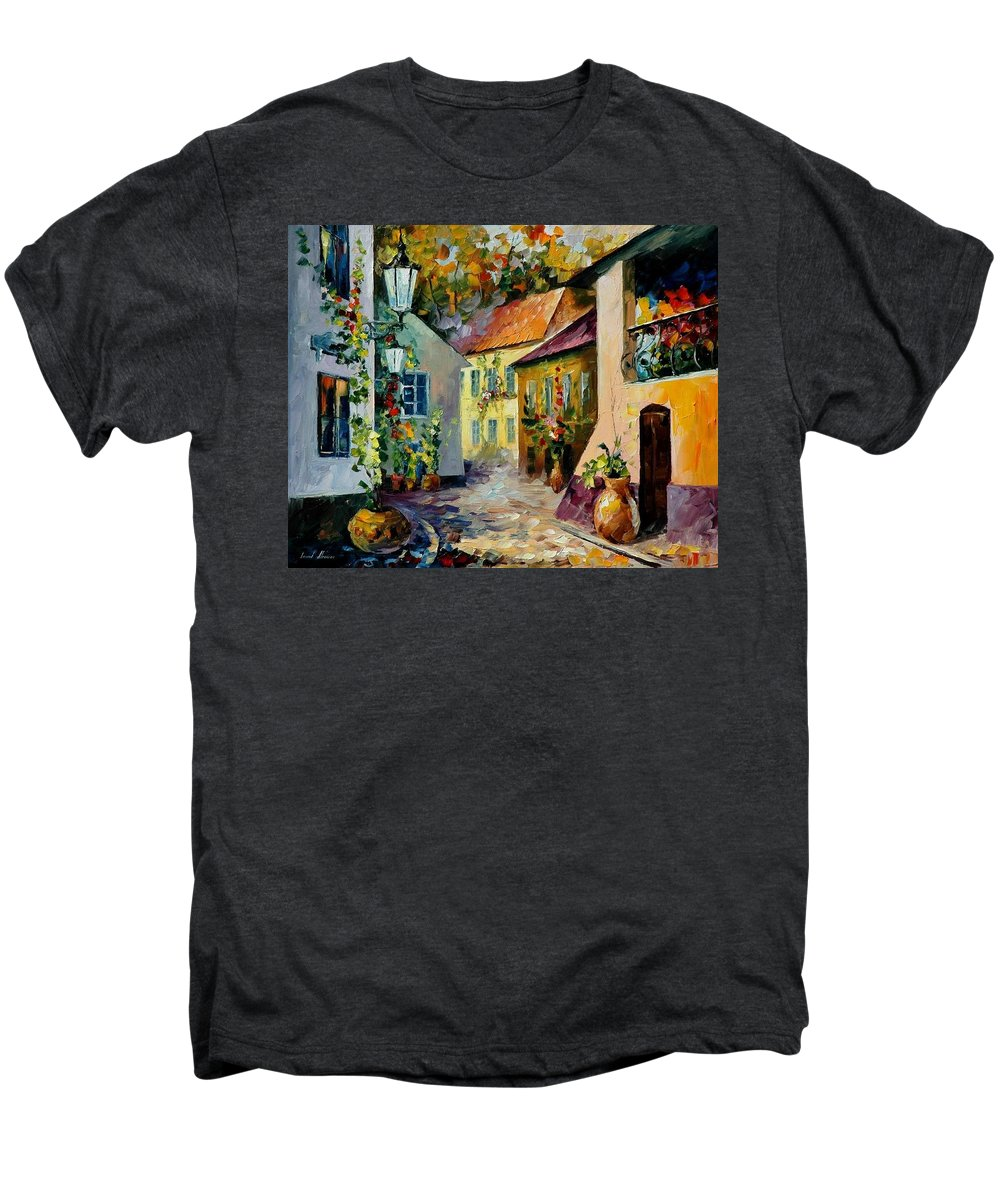 Landscape Men's Premium T-Shirt featuring the painting Hot Noon Original Oil Painting by Leonid Afremov