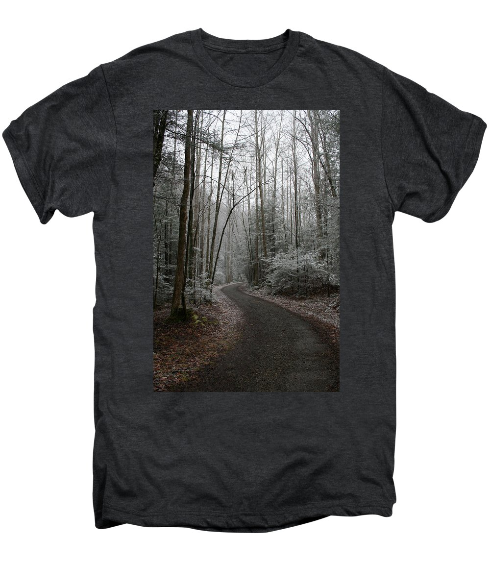 Nature Road Country Woods Forest Tree Trees Snow Winter Peaceful Quite Path White Forest Drive Men's Premium T-Shirt featuring the photograph I Am The Way by Andrei Shliakhau