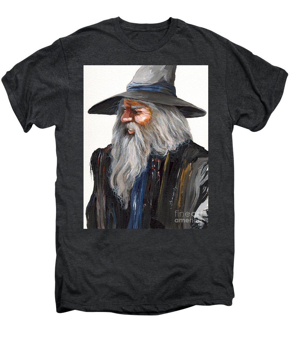 Fantasy Art Men's Premium T-Shirt featuring the painting Impressionist Wizard by J W Baker