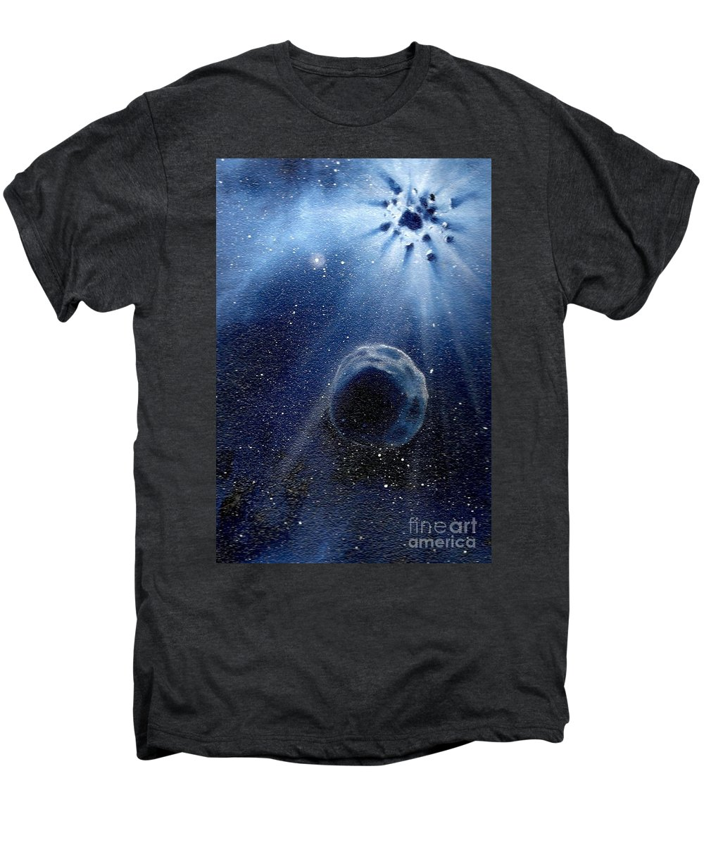 Outerspace Men's Premium T-Shirt featuring the painting Impressive Impact by Murphy Elliott