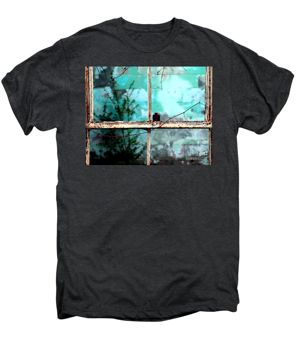 Windows Men's Premium T-Shirt featuring the photograph In Or Out by Amanda Barcon