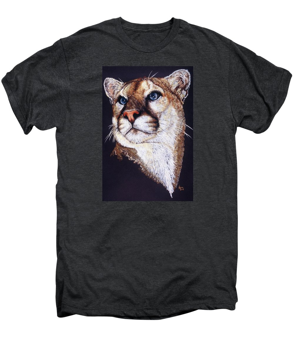 Cougar Men's Premium T-Shirt featuring the drawing Intense by Barbara Keith