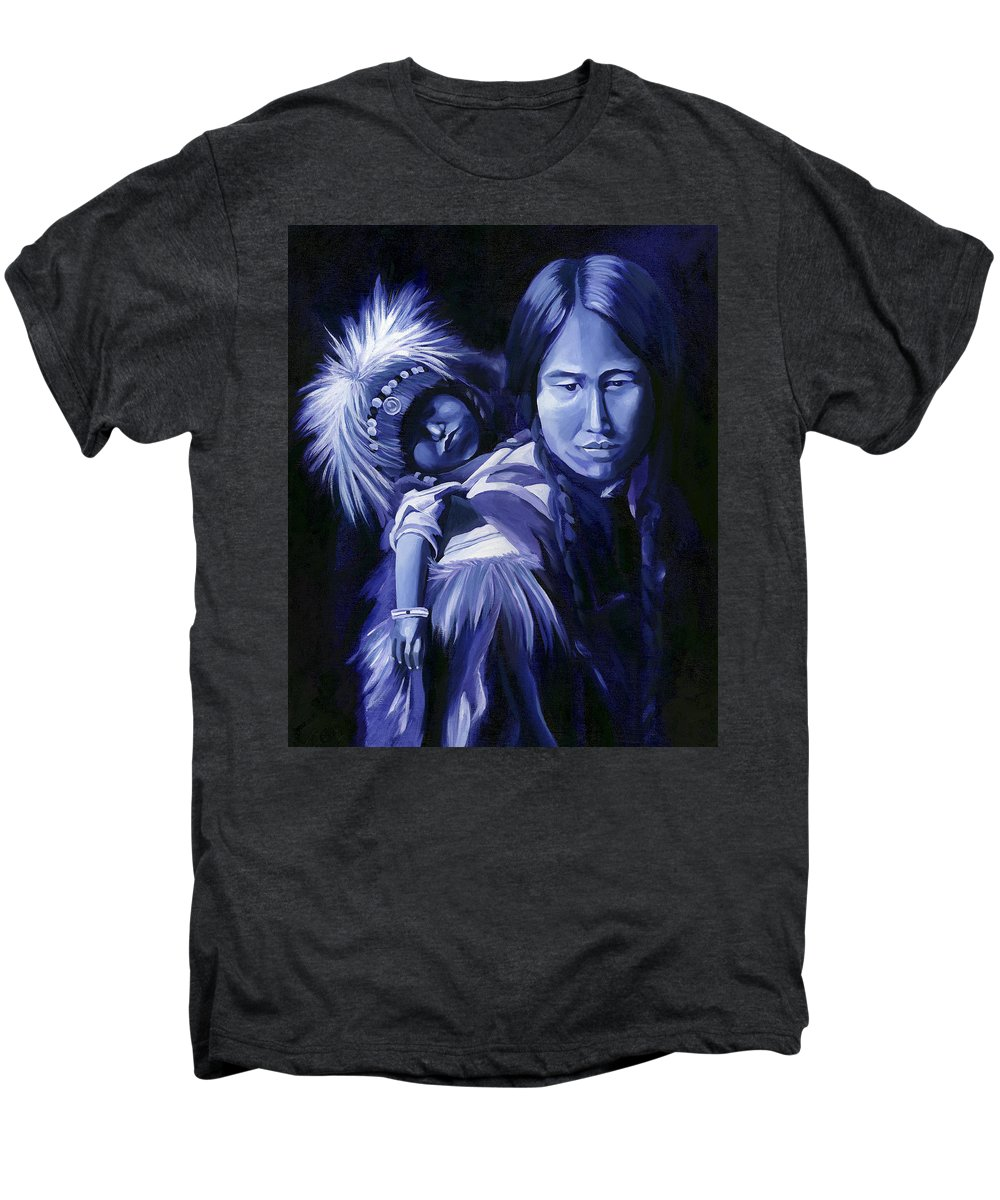 Native American Men's Premium T-Shirt featuring the painting Inuit Mother And Child by Nancy Griswold