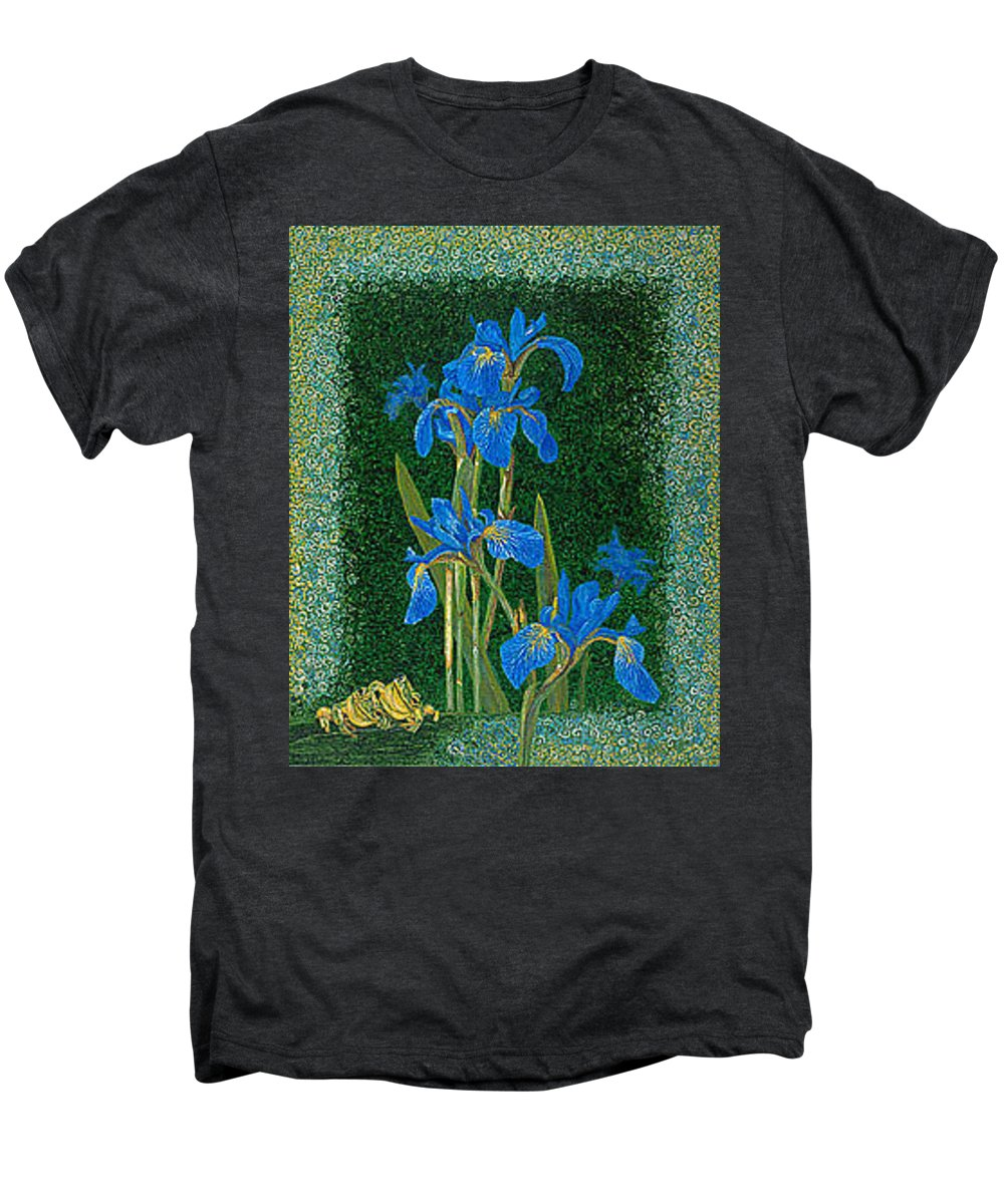Irises Men's Premium T-Shirt featuring the painting Irises Blue Flowers Lucky Love Frog Friends Fine Art Print Giclee High Quality Exceptional Colors by Baslee Troutman