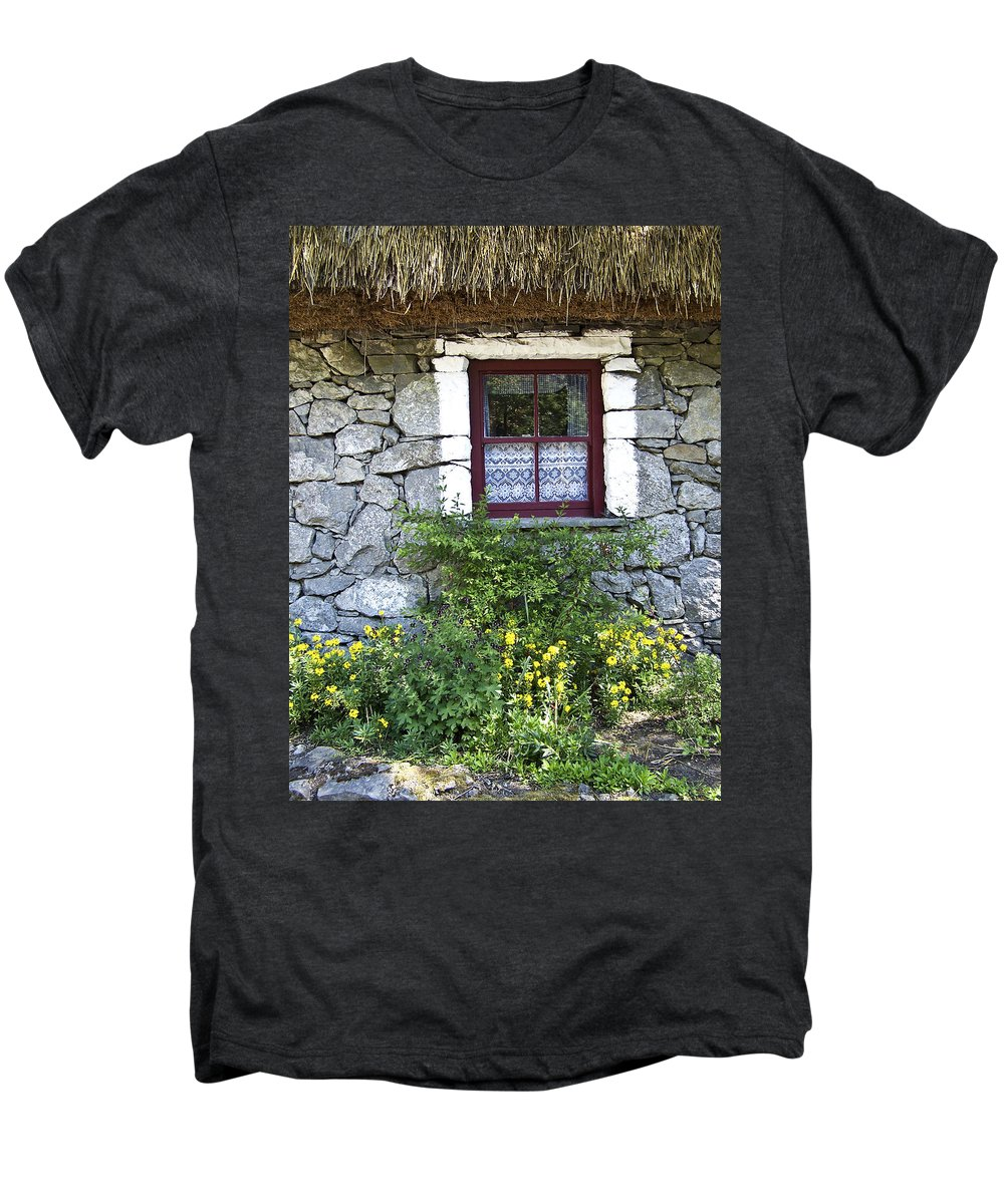 Irish Men's Premium T-Shirt featuring the photograph Irish Cottage Window County Clare Ireland by Teresa Mucha