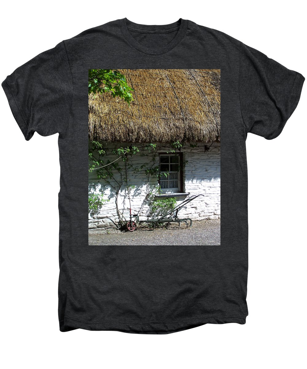 Irish Men's Premium T-Shirt featuring the photograph Irish Farm Cottage Window County Cork Ireland by Teresa Mucha