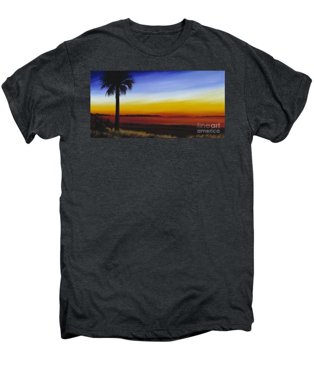 Palmetto Tree Men's Premium T-Shirt featuring the painting Island River Palmetto by James Christopher Hill