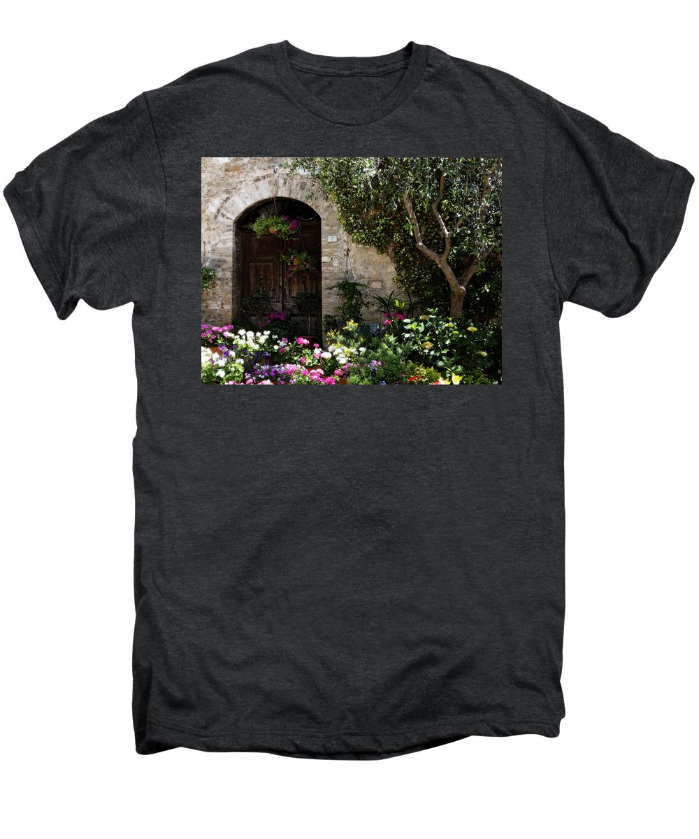 Flower Men's Premium T-Shirt featuring the photograph Italian Front Door Adorned With Flowers by Marilyn Hunt