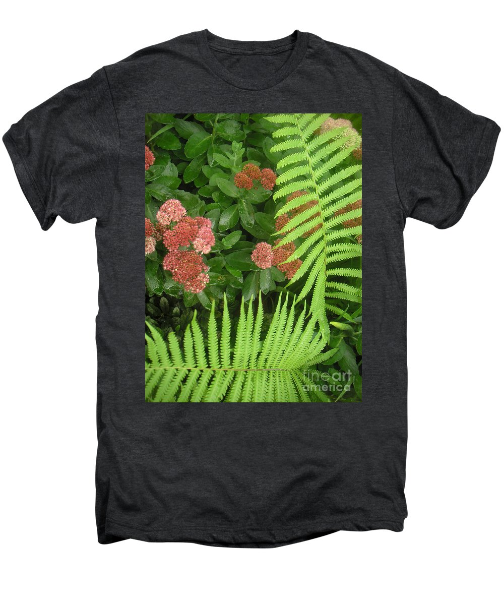 Nature Men's Premium T-Shirt featuring the photograph Jacqueline's Garden - Camaraderie Of Textures Too by Lucyna A M Green