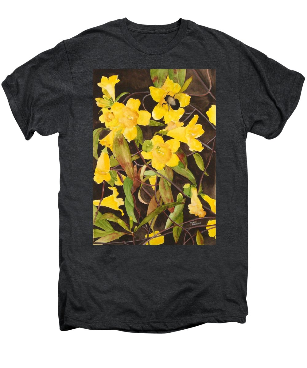 Flowers Men's Premium T-Shirt featuring the painting Jessamine Jungle by Jean Blackmer