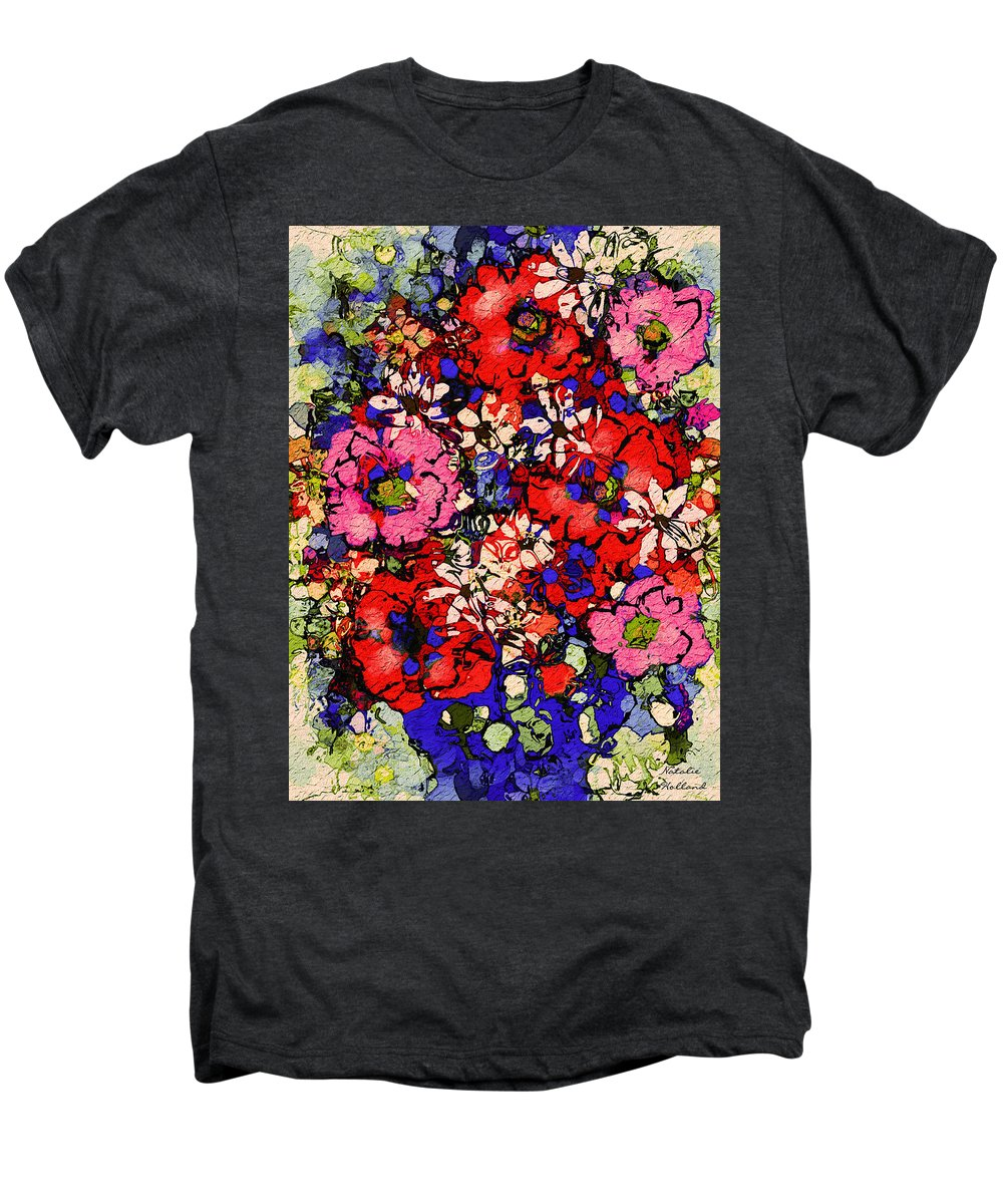 Floral Abstract Men's Premium T-Shirt featuring the painting Joyful Flowers by Natalie Holland