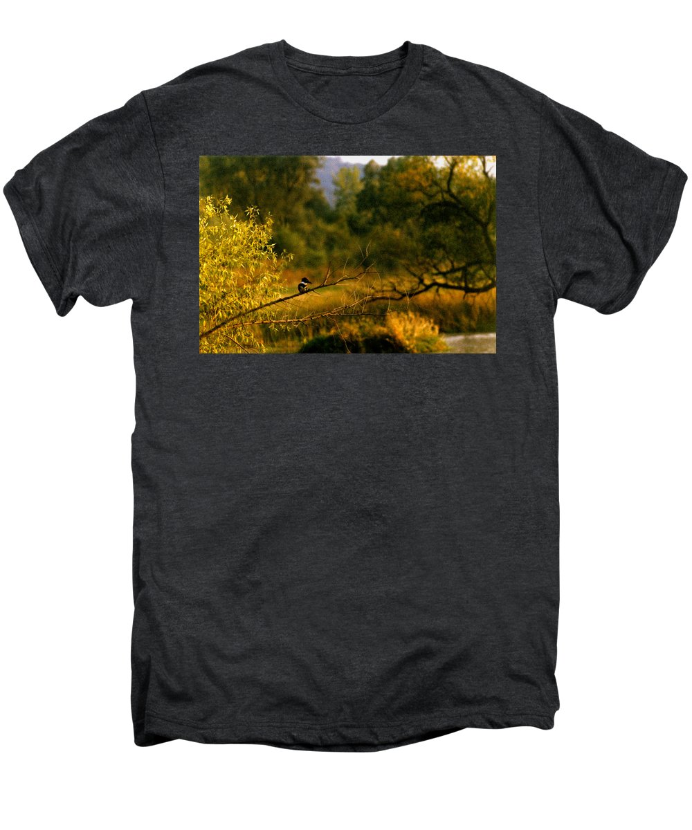 Landscape Men's Premium T-Shirt featuring the photograph King Fisher by Steve Karol