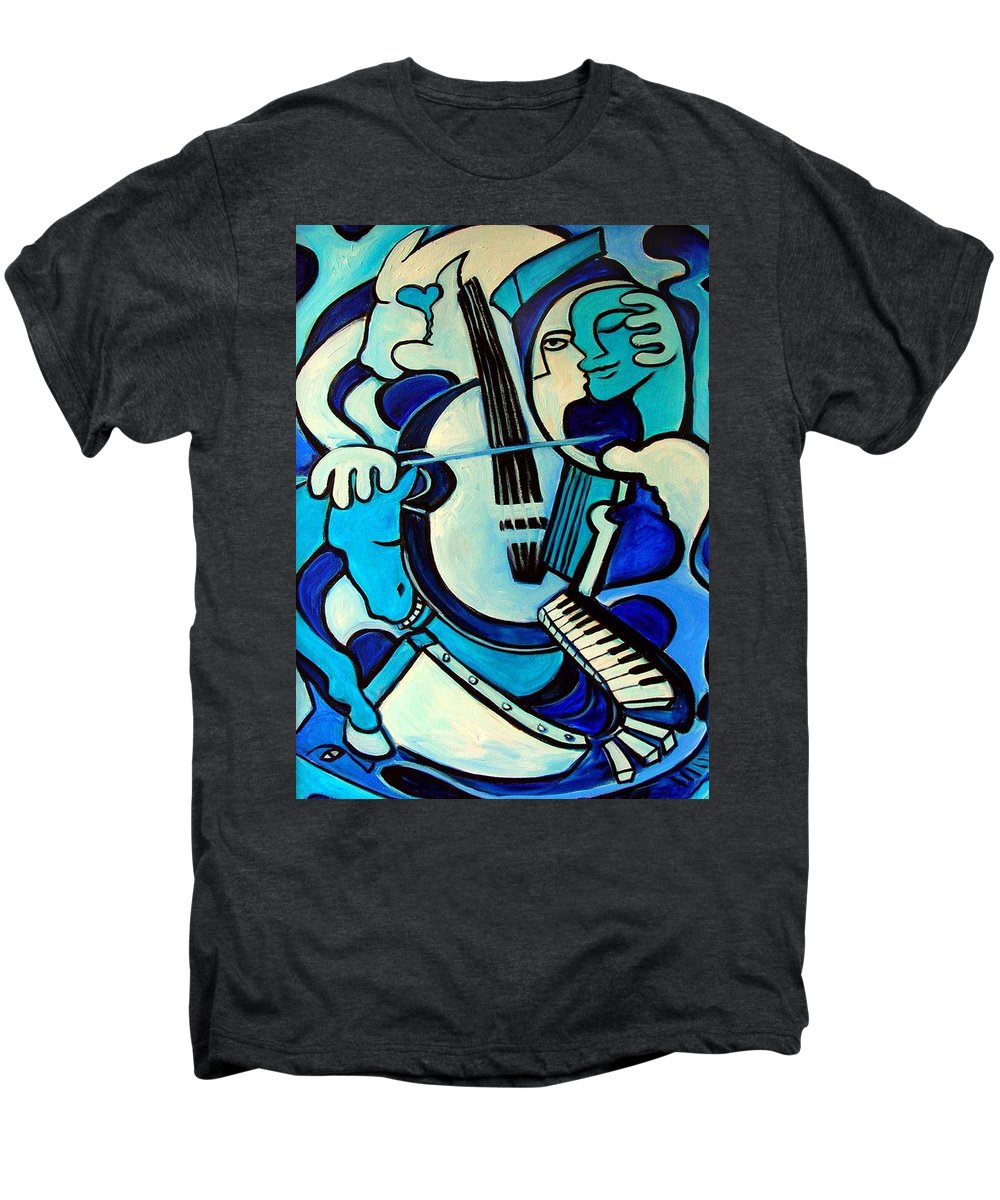Abstract Men's Premium T-Shirt featuring the painting L Amour Ou Quoi by Valerie Vescovi