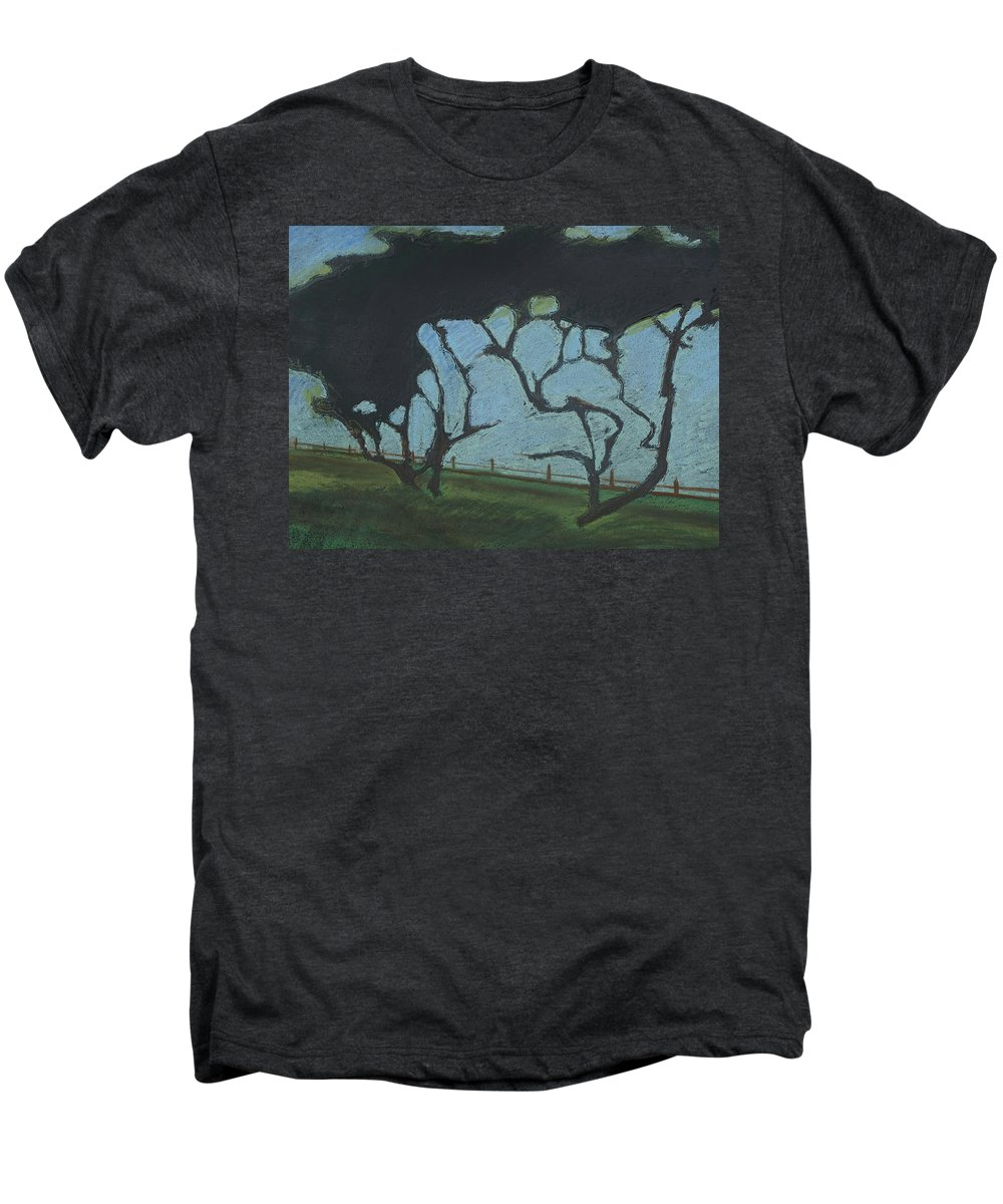 Contemporary Tree Landscape Men's Premium T-Shirt featuring the mixed media La Jolla IIi by Leah Tomaino